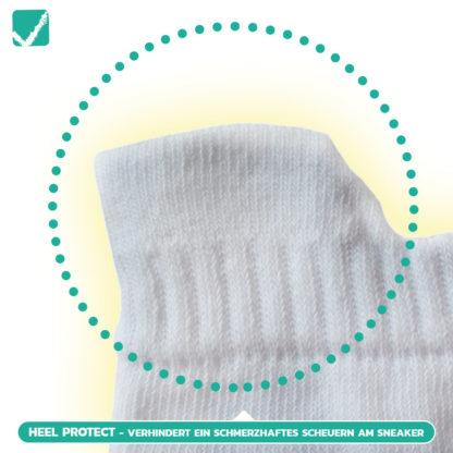 Sneaker Socken Heel Protect. Kein Scheuern, kein Reiben am Sneaker und euer Fersenbereich bleibt geschützt!