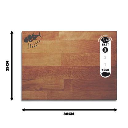 Küchenbrett Buche 25x38cm, Größen- und Härtegradangaben